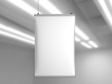 Aluminum snap grip Ceiling Banner poster hanger,Hanging Poster Rails Poster Hanger. 3d render illustration.