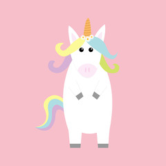 Unicorn standing Kawaii head face. Pastel color rainbow hair, daisy chamomile flower. Flat lay design. Cute cartoon baby character. Funny horse. Happy Valentines Day. Love card. Pink background