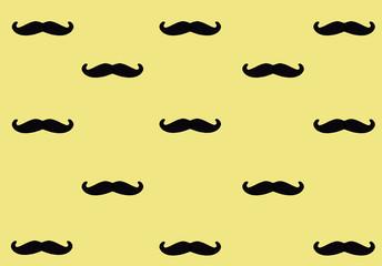 Black mustache on pink background. Mustache pattern