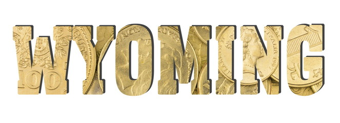 Wyoming. Shiny golden coins textures for designers. White isolate