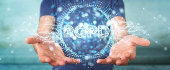 Businessman using digital GDPR interface 3D rendering