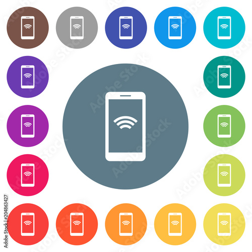 Cellphone With Wireless Network Symbol Flat White Icons On Round