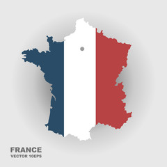 Map of France in color of National Flag