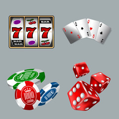 Set of gambling icons for Casino game with Slot machine, Cards, Dices, and Chips