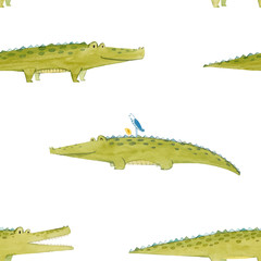 Watercolor crocodile vector pattern
