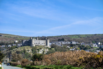 The skyline of Harlech with it's 12th century castle, Wales, United Kingdom