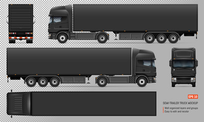 Black trailer truck vector mockup. Isolated template of big lorry on transparent background for vehicle branding, corporate identity. View from left, right, front, back, top sides.