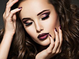 Portrait of gorgeous girl with vinous lips