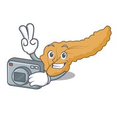 Photographer pancreas mascot cartoon style