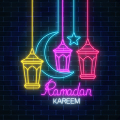 Ramadan greeting card with star, crescent and fanus lanterns. Glowing neon ramadan holy month sign
