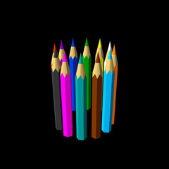 Color pencils. Isolated on black background. Vector colorful illustration.