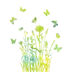 Watercolor grass, flowers and butterflies