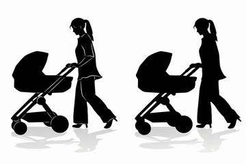 silhouette of woman with a stroller , vector draw