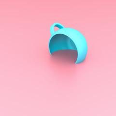 Light blue cup on pink pastel background 3D illustration