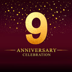 9 years anniversary. celebration logotype 9th years.Logo with golden and on dark pink background, vector design for invitation card, greeting card.