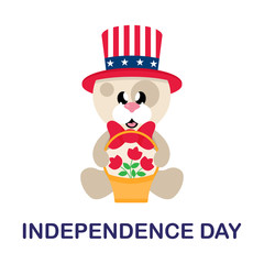 4 july cartoon cute dog in hat sitting with basket and flowers with text
