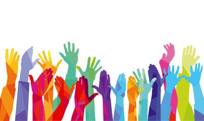 Hände nach oben, farbenfrohe illustration