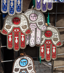 "Hamsa with ""Chai"" symbol - ""Living"" sale at Carmel Market, popular marketplace in Tel-Aviv. Israel"