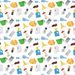 Recycling garbage vector trash bags tires management ecology industry garbage utilize concept waste sorting seamless pattern background illustration.