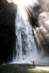 Empty NungNung Waterfall in central Bali just for us