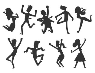 People jumping in celebration party vector happy man jump celebration joy character silhouette cheerful woman active happiness expression many joyful friends portrait.