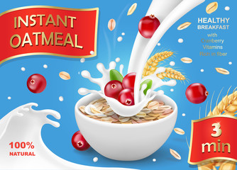 Oat flakes with cranberry, oatmeal advertising with milk splash