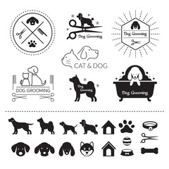 Pets, Cats and Dogs Logo, Symbols, Signs, Grooming Shop or Salon
