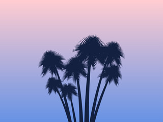 Palms. Tropical landscape. Rose quartz and serenity gradient background. Exotic trees. Vector illustraion