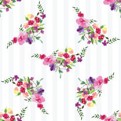 Hand-painted Watercolor pattern of a branch with flowers pink Magnolia flower spring card