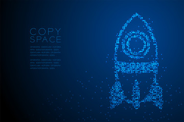 Abstract Geometric Circle dot pattern Cartoon Rocket spaceship shape, space exploration concept design blue color illustration isolated on blue gradient background with copy space, vector eps 10