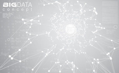 Big data light grey background vector illustration. White information streams center visualization. Future digital technology. Futuristic infographic. Cyber aesthetic design.