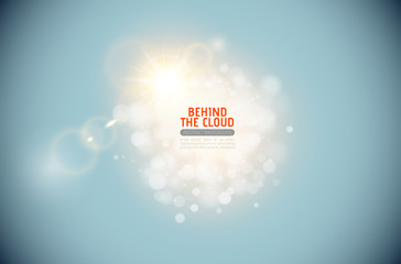 Vector sparkling cloud with shining lens flare light effect on blue sky background. Glowing center headline place. Abstract light sparks elegant design.