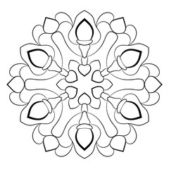 Mandala for color book. Illustration for scrapbook. Contour pattern in the circle. Monochrome picture for coloring. Beautiful rosette pattern for printing.