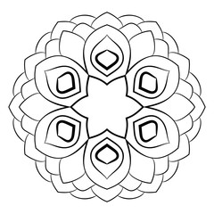 Mandala for color book. Illustration for scrapbook. Contour pattern in the circle. Monochrome picture for coloring. A beautiful pattern of rosettes.