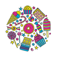 Set of candies and sweets in doodle style