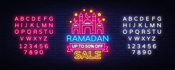 Ramadan Sale neon sign vector. Ramadan Kareem Web design banner in modern trendy style for image of your product, light banner, nightly bright advertising of holiday discounts. Editing text neon sign