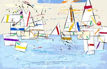 Abstract, modern art inspired illustration of sailboats, vector format.