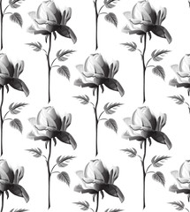 seamless pattern with delicate outline roses