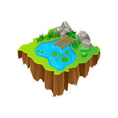 Cartoon vector design of isometric island. Lake with wooden pier, stones, green plants and grass. Element for mobile game
