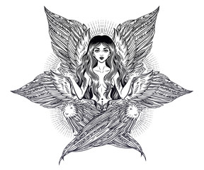 Hand drawn romantic six winged magic Angel girl.