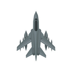 Powerful fighter jet. Fast military aircraft. Aviation theme. Flat vector design for online mobile game