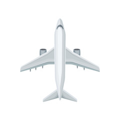 Flat vector icon of plane with two jet engines. Large air transport. Airline for transporting passengers or cargo