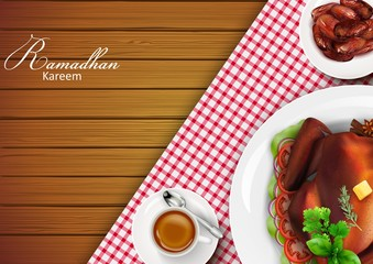 Ramadan Kareem Iftar party celebration with traditional Arabic dishes on wooden table