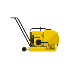 Vibratory plate compactor with handle. Professional equipment for road making. Construction industry theme. Flat vector icon