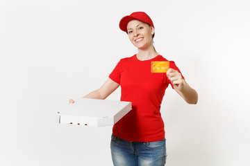 Delivery woman in red uniform isolated on white background. Female in cap, t-shirt, jeans working as courier holding italian pizza in cardboard flatbox and credit card. Copy space for advertisement.