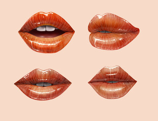 Sensual juicy lips collection. Mouth set. Vector lipstick or lip gloss 3d realistic illustration.