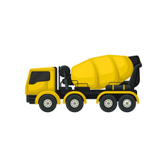 Flat vector icon of yellow concrete mixing truck. Large vehicle with rotating container. Machine using in construction industry