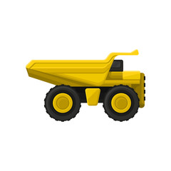 Yellow tipper big wheels. Flat vector icon of dumper truck with hydraulic tipping body. Heavy machine using in construction industry
