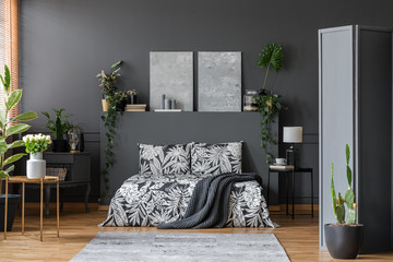Black bedding in stylish interior
