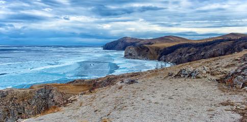 Ice on Lake Baikal  and cliffs of Cape Khoboy